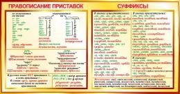 Купить Стенд Правописание приставок. Суффиксы  в золотистых тонах  1050*550мм в России от 2062.00 ₽