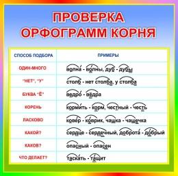 Купить Стенд Проверка орфограмм корня в радужных тонах 550*550мм в России от 1080.00 ₽