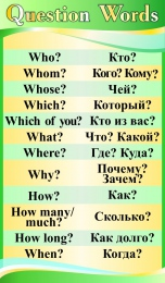 Купить Стенд Question Words в кабинет английского языка в в золотисто-зелёных тонах 850*500 мм в России от 1517.00 ₽
