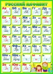 Купить Стенд Русский алфавит для начальной школы в салатовых тонах 500*700мм в России от 1362.00 ₽