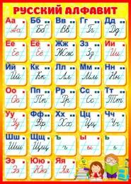 Купить Стенд Русский алфавит для начальной школы в жёлто-красных тонах 500*700мм в России от 1362.00 ₽