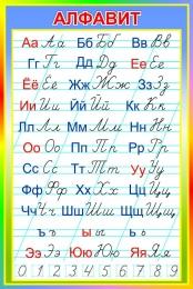 Купить Стенд Русский алфавит прописной и строчной в радужных тонах 670*1000 мм в России от 2392.00 ₽