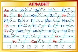 Купить Стенд Русский алфавит прописной и строчной в золотистых тонах 1000*670 мм в России от 2399.00 ₽