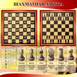 Купить Стенд Шахматная азбука в секцию по шахматам в золотисто-красных тонах 800*800 мм в России от 2285.00 ₽