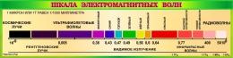 Купить Стенд Шкала электромагнитных волн для кабинета физики в золотисто-зелёных тонах 2000*500 мм в России от 3570.00 ₽