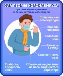 Купить Стенд Симптомы Коронавируса в фиолетовых тонах 200*240 мм в России от 171.00 ₽