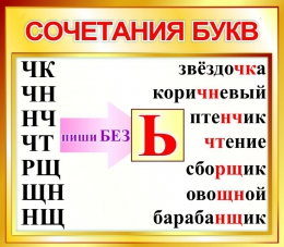 Купить Стенд Сочетания букв для начальной школы в золотистых тонах 400*350мм в России от 526.00 ₽