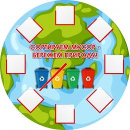 Купить Стенд Сортируем мусор-бережем природу! 500*500 мм в России от 1267.00 ₽