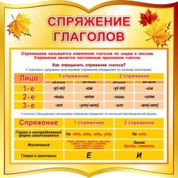 Купить Стенд спряжение глаголов в стиле осень 550*550 мм в России от 1177.00 ₽