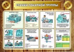 Купить Стенд Станки токарной группы в кабинет трудового обучения 1000*700мм в России от 2499.00 ₽