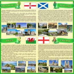 Купить Стенд Страны Соединенного Королевства Великобритании и Северной Ирландии в зеленых тонах 750*750 мм в России от 2008.00 ₽
