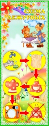Купить Стенд Схема дежурных для группы Цветочный городок 200*500 мм в России от 376.00 ₽