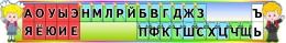 Купить Стенд Таблица гласные и согласные со звоночками и наушниками для кабинета начальной школы в радужных тонах 1370*210 мм в России от 1119.00 ₽