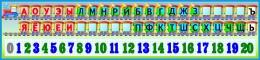 Купить Стенд таблица гласных, согласных  и цифр Паравозик с обозначением звонкости глухости 1500*350 мм в России от 1974.00 ₽