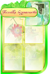 Купить Стенд Техника безопасности для кабинета Биологии на 4 кармана  600*900мм в России от 2313.00 ₽