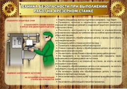 Купить Стенд Техника безопасности при выполнении работ на фрезерном станке в стиле Стимпанк 1000*700 мм в России от 2499.00 ₽