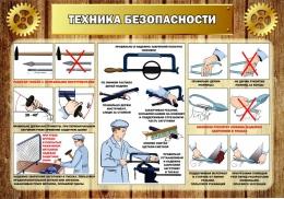 Купить Стенд Техника безопасности в кабинет трудового обучения в коричневом стиле 1000*700мм в России от 2632.00 ₽