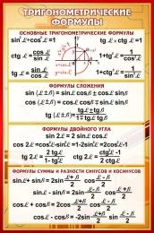 Купить Стенд Тригонометрические формулы в золотисто-бордовых тонах 430*650 мм в России от 1001.00 ₽