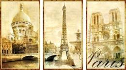 Купить Стенд триптих Достопримечательности Парижа Ретро для кабинета французского языка 1150*650мм в России от 2713.00 ₽