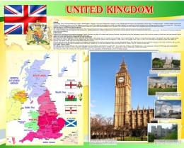 Купить Стенд UNITED KINGDOM на английском языке в золотисто-желтых с зеленым тонах 1000*1250 мм в России от 4700.00 ₽