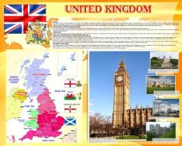 Купить Стенд UNITED KINGDOM на английском языке в золотистых тонах  1000*1250 мм в России от 4700.00 ₽