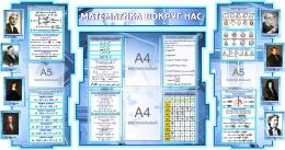 Купить Стенд в кабинет Математики Математика вокруг нас с формулами в синих тонах 1825*955 мм в России от 7280.00 ₽