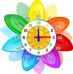 Купить Стенд в виде часов Учим Время в стиле группы Семицветик 360*360мм в России от 478.00 ₽