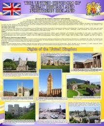 Купить Стенд Великобритания  для кабинета английского языка в фиолетовых тонах 700*850мм в России от 2124.00 ₽