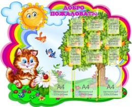 Купить Стенд-визитка для детского сада Добро пожаловать для группы Котята 1300*1040 мм в России от 5764.00 ₽