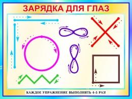 Купить Стенд Зарядка для глаз в бирюзовых тонах 800*600 мм в России от 1714.00 ₽