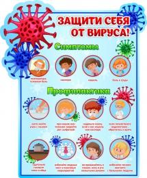Купить Стенд Защити себя от вируса!  в голубых тонах 560*680мм в России от 1478.00 ₽