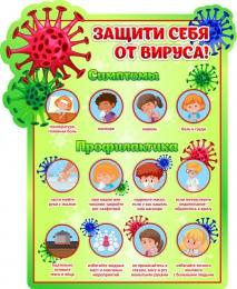 Купить Стенд Защити себя от вируса! в зеленых тонах 360*440мм в России от 615.00 ₽
