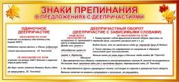 Купить Стенд Знаки препинания в предложениях с деепричастием 700*330мм в России от 825.00 ₽