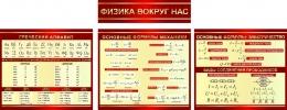 Купить Стендовая композиция Физика вокруг нас в бордовых тонах 2470*950мм в России от 6587.00 ₽