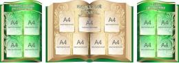 Купить Стендовая  композиция Классный уголок в виде раскрытой книги в золотисто-зелёных тонах 2540*920мм в России от 9325.00 ₽