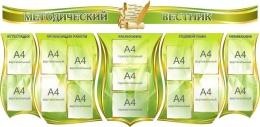 Купить Стендовая композиция Методический вестник в оливковых тонах 2270*1110мм в России от 12556.00 ₽