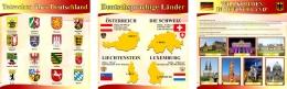 Купить Стендовая композиция в кабинет немецкого языка в желто-бордовых тонах 3000*1000 мм в России от 10740.00 ₽