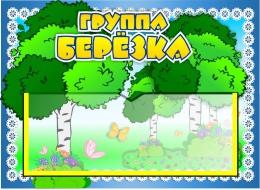 Купить Табличка для группы Берёзка с карманом для имен воспитателей 220*160 мм в России от 248.00 ₽