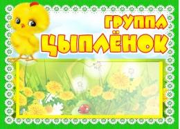 Купить Табличка для группы Цыплёнок с карманом для имен воспитателей 220*160 мм в России от 238.00 ₽