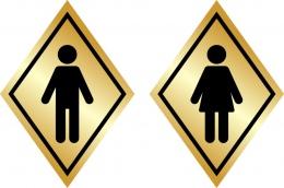 Купить Табличка на туалет в золотистых тонах 100*140 мм в России от 54.00 ₽