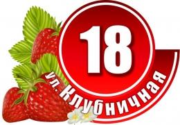 Табличка Номер дома и название улицы в красных тонах с клубникой 530х380