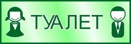 Купить Табличка Туалет в зелёных тонах 300*100 мм в России от 113.00 ₽