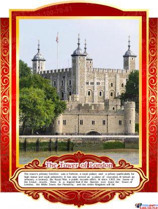 Комплект стендов Достопримечательности Великобритании для кабинета английского языка в золотисто-красных тонах 265*350 мм,280*350 мм Изображение #6