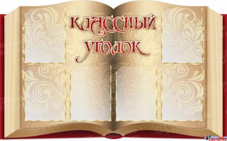 Стендовая  композиция Классный уголок в виде раскрытой книги в золотисто-бордовых тонах 2520*800мм Изображение #2