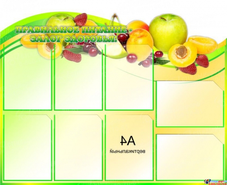 Композиция Стендов Уголок питания с фруктами и Правильное питание- залог здоровья! 2200*850 мм Изображение #1