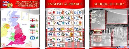 Комплект из 3-х стендов  для кабинета английского языка в красно-серых тонах в стиле Лондон 1950*750 мм