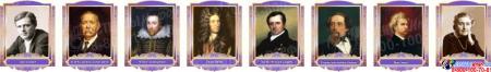 Комплект портретов для кабинета английского языка в фиолетовых тонах 260*350 мм