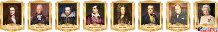 Комплект портретов портретов Знаменитые Британцы в золотистых тонах 260*350 мм