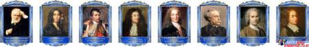 Комплект портретов Знаменитые французкие деятели в золотисто-синих тонах 260*350 мм