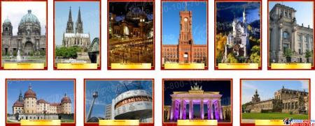 Комплект стендов Достопримечательности Германии для кабинета немецкого языка в золотисто-бордовых тонах  215*310 мм, 310*210 мм